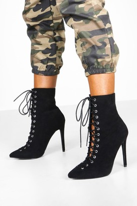 boohoo Lace Up Stiletto Sock Boots