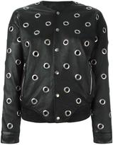 Saint Laurent eyelet teddy jacket - women - Cotton/Lamb Skin/Cupro/Brass - 36