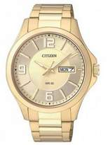 Citizen BF2003-50P Men's Gold Stainless Steel Bracelet With Gold Dial Watch NWT