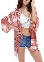 WEHOPS Swim Beachwear Cover Ups for Women Printed Boho Chiffon Kimono Cardigan for Bikini