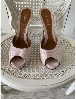Fendi Pink Python Sandals