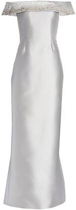 Catherine Regehr Off-The-Shoulder Metallic Silk Radzimir Gown
