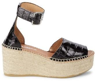 Andre Assous Luz Croc-Embossed Leather Platform Sandals
