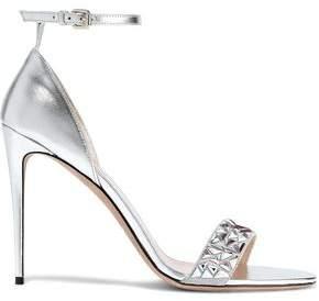 Valentino Garavani Crystal-embellished Suede And Metallic Leather Sandals