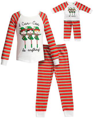 Dollie & Me Girls' Sleep Bottoms RD/WH - Red & White Stripe Pajama Set - Toddler & Girls