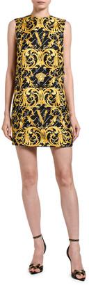 Versace Greek Key Print Silk Shift Dress