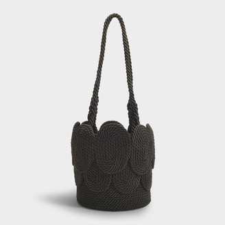 MEHRY MU Cha Cha Shell Bag In Black Satin Rope