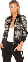 Pam & Gela Silky Embroidered Bomber in Black. - size L (also in M,S)