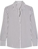 Frame Classic Striped Silk Crepe De Chine Shirt - White