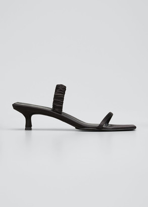 KHAITE Georgia Silk Kitten-Heel Slide Sandals