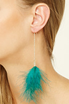 Forever 21 FOREVER 21+ Faux Feather Drop Earrings