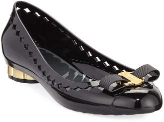 Salvatore Ferragamo Jelly Cutout Vara Bow Flat