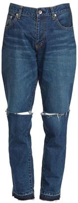 Sacai Mid-Rise Straight-Leg Distressed Jeans