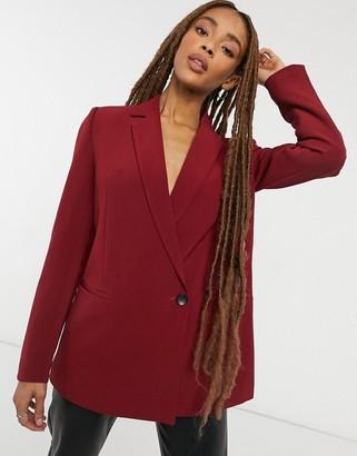 Vero Moda fitted blazer in burgundy red