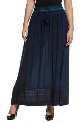 Ulla Popken Straight Maxi Skirt with Embroidered Hem
