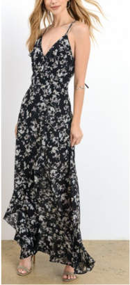 Hommage Black Floral Maxi Dress