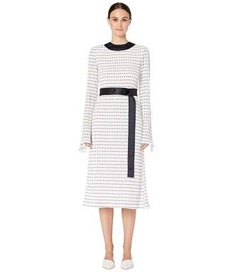 Yigal Azrouel Stretch Smocked Polka Dot Dress with Combo Belt