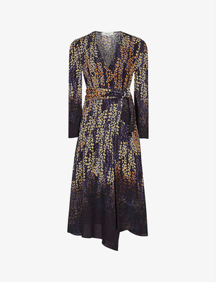 Reiss Esther Ditsy-print crepe wrap dress