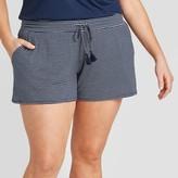 Stars Above Women's Plus Size Striped Beautifully Soft Pajama Shorts - Stars AboveTM Navy