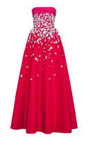 Carolina Herrera Floral Embroidered Faille Ball Gown