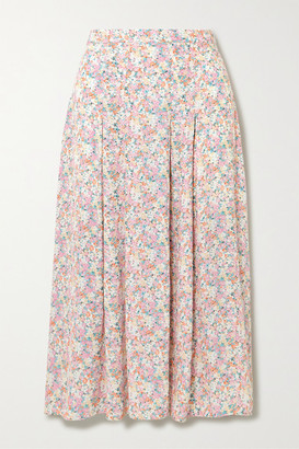 Faithfull The Brand Cuesta Pleated Floral-print Crepe Midi Skirt - Baby pink
