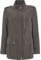Mint Velvet Khaki Studded Tencel Jacket
