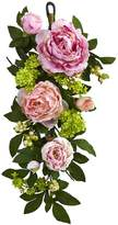 Nearly natural Artificial Mixed Peony & Hydrangea Teardrop Garland