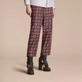 Burberry Pyjama Print Cropped Silk Twill Pyjama-style Trousers