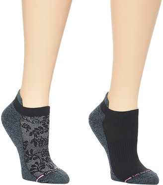Dr. Motion Women's Socks BLACK - Black Pretty Lace Cushioned Compression Ankle Socks - Set of Two
