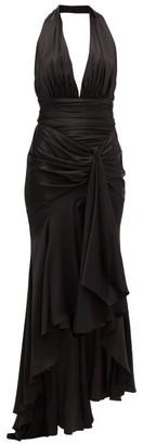 Alexandre Vauthier Ruched Silk-blend Satin Gown - Womens - Black