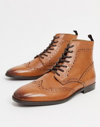 ASOS DESIGN brogue boots in tan leather with natural sole