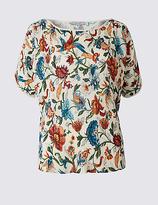 Per Una Floral Print Plisse Split Sleeve T-Shirt