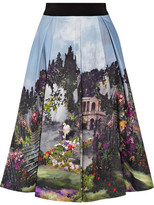 Alice + Olivia Audrey Printed Cotton-blend Midi Skirt - Sky blue