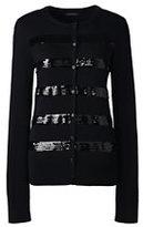 Classic Women's Petite Supima Embellished Sweater-Black Stripe