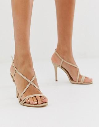 Forever New cross over strap peep toe heel in glitter blush-Pink