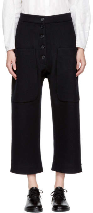 Studio Nicholson Navy Wool Bisset Trousers
