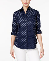 Karen Scott Petite Cotton Dot-Print Shirt, Only at Macy's