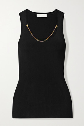 Givenchy Chain-embellished Ribbed Jersey Tank - Black