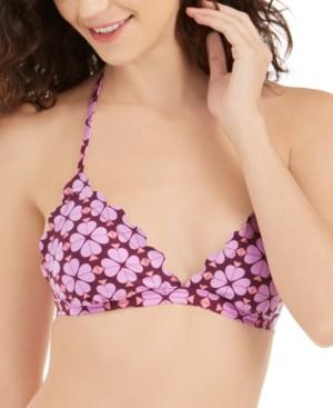 Kate Spade Flowerspade Printed Scalloped V-Neck Bikini Top Women's Swimsuit