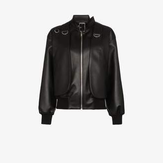 we11done Womens Black Buckled Faux Leather Bomber Jacket