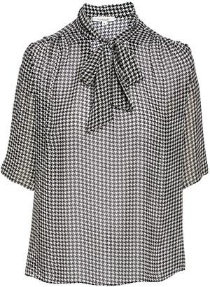 Minna Women's Blouses black/white - Black Houndstooth Tie-Front Cutout Neck Three-Quarter Sleeve Top - Women & Plus