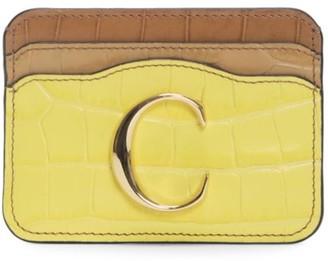 Chloé C Croc-Embossed Leather Card Holder