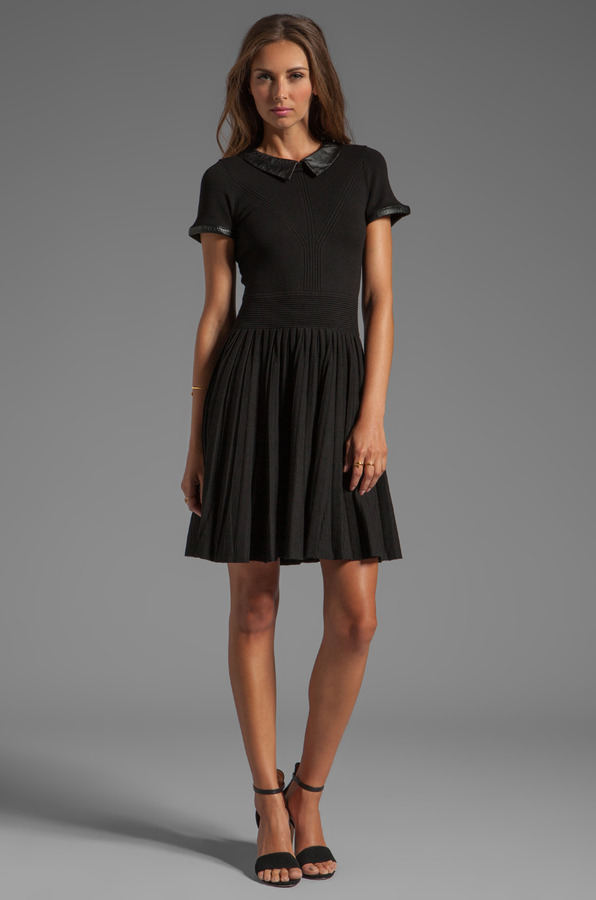 Milly June Knits Leather Collar Josephine Dress