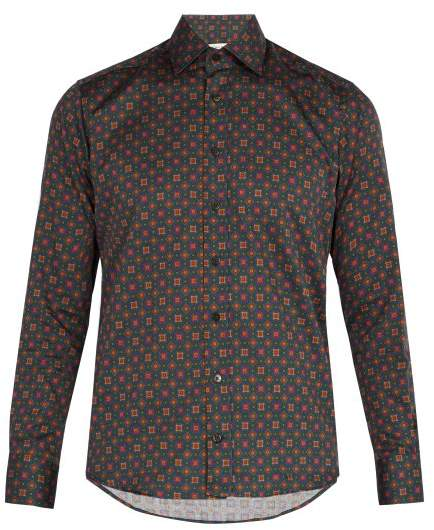 Etro Geometric Print Cotton Shirt - Mens - Green