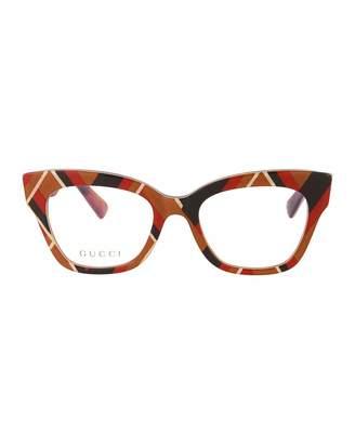 Gucci Printed Acetate Cat-Eye Optical Glasses