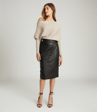 Reiss Kali - Leather Pencil Skirt in Black