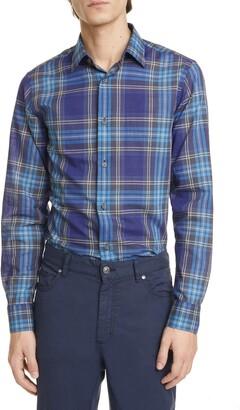 Ermenegildo Zegna Extra Slim Fit Plaid Button-Up Shirt