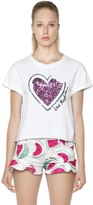 Love Moschino Watermelon Sequined Jersey T-Shirt