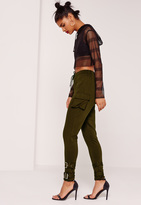 Missguided Side Pocket Ankle Strap Joggers Khaki