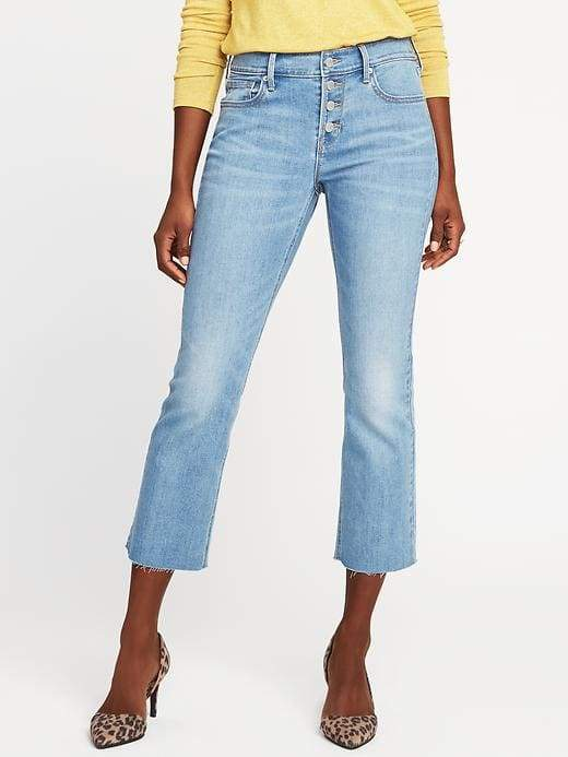 Old Navy Mid-Rise Button-Fly Flare Ankle Jeans for Women